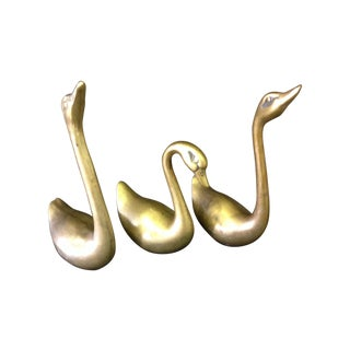 Brass Swans - Set of 3