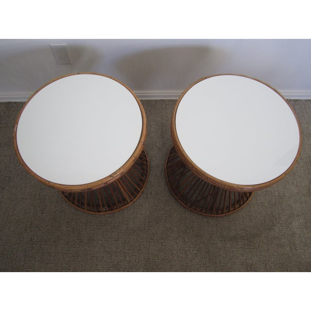 Image of Franco Albini-Style Rattan Side Tables - A Pair