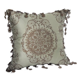 Fringed Metallic Accent Pillow