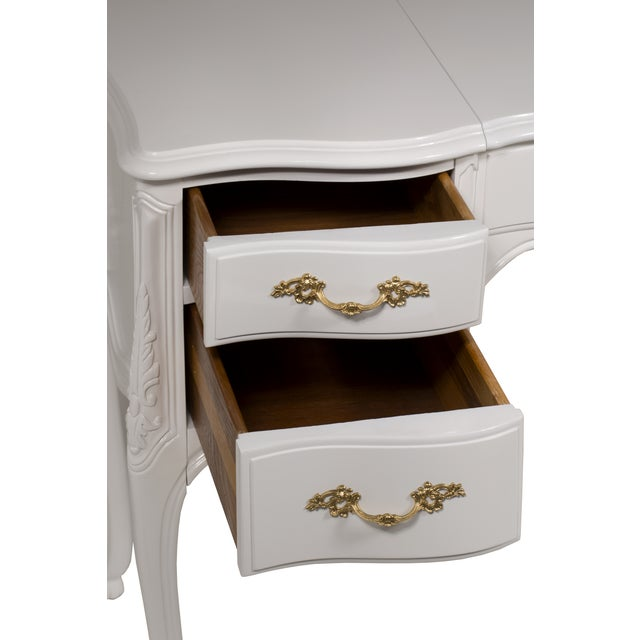 Vintage French-Style White Vanity Desk with Mirror - Image 5 of 7