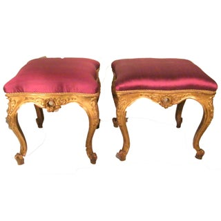 French Giltwood Ottomans - A Pair