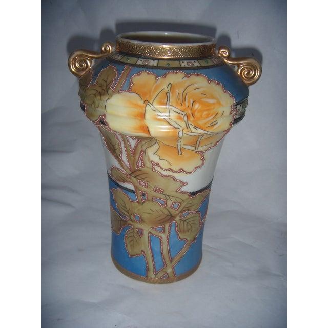 Powder Blue & Peach Nippon Vases - A Pair - Image 6 of 9