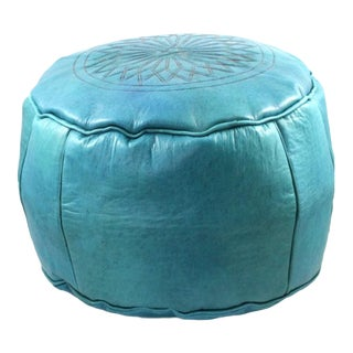 Turquoise Moroccan Leather Pouffe Ottoman