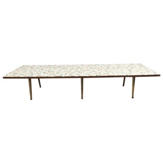 Mid-Century Tile & Brass Coffee Table