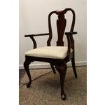 Image of Vintage Dark Cherry Queen Anne Cresent Arm Chair