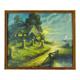 "Vintage ""House in Moonlight Dew - Pearls on the Hillside"" Framed Print"