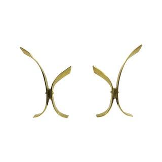 Mid Century Modern Brass and Iron Andirons