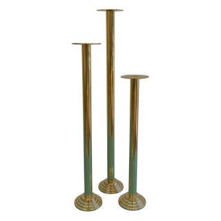 Sleek Brass Candlesticks - Set of 3