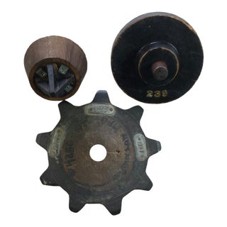 Vintage Industrial Gear Cogs - Set of 3