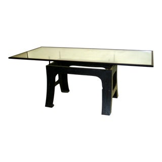 French Industrial Dining Table with Cantilevered Top by Saint Gobain