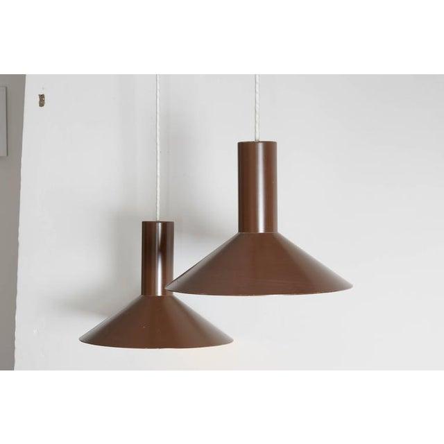 Brown Pendant Cone Lamps, Pair - Image 2 of 5