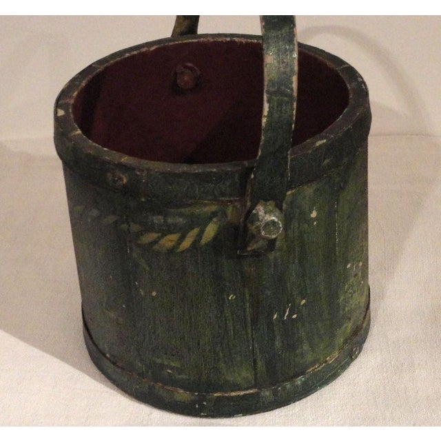 19th Century Nautical Original Painted and Decorated Water Bucket from NE - Image 6 of 8