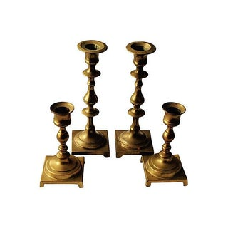 Footed Brass Candlesticks - Set of 4