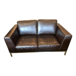 Italsofa Dark Brown Leather Loveseat