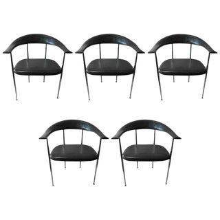 Set of 5 Italian Modern Possibly Giancarlo Vegni Leather And Chrome Chairs