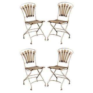English Garden Wood and Metal Chairs - Set of 4
