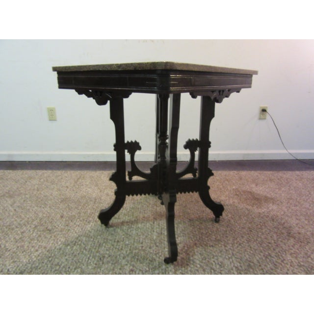 Image of Antique Victorian Marble Top Side/Lamp Table