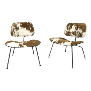 Pair Early Lcm Lounge Chairs in Cow-hide by Charles Eames 1950's