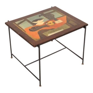 Side Table with Pablo Picasso Lithograph, Italy, circa 1950