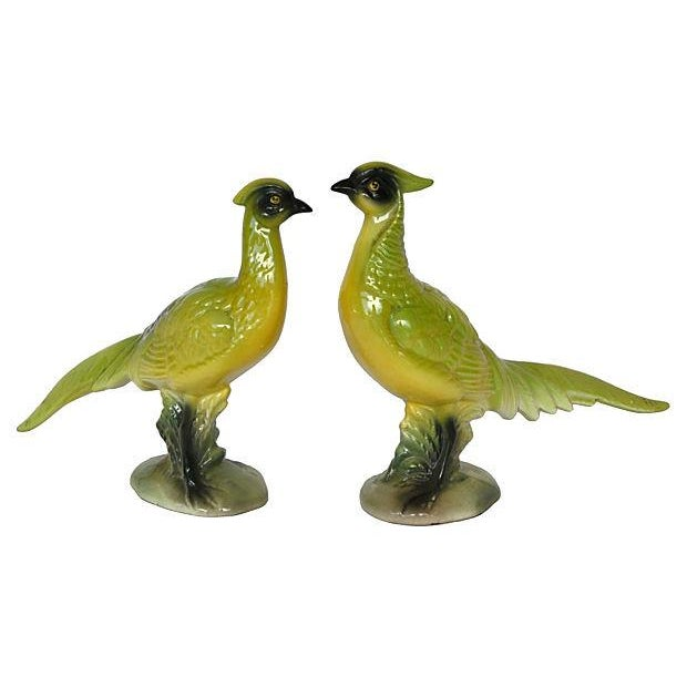 Image of 1950s Chartreuse Pheasants - Pair