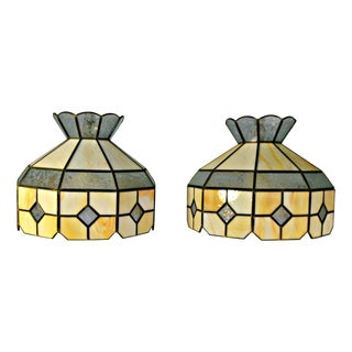 Art Deco Stained Leaded Glass Lamps - A Pair