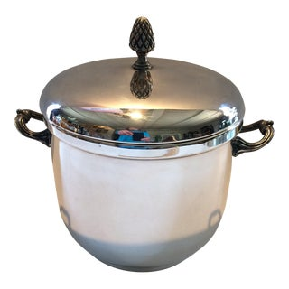 Mid-Century Silver Plate Ice Bucket With Tongs