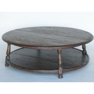 Custom Walnut Wood Round Colonial Coffee Table With Shelf