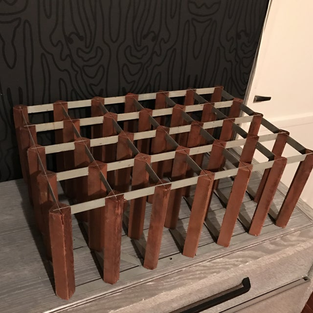 Mid-Century Wood and Metal Wine Rack - Image 7 of 8