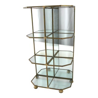 Glass & Brass Mirrored Display Case