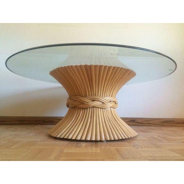 Wicker Coffee Table Base: McGuire Mid-Century Rattan Wheat Bundle Base Coffee Table