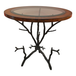 Branch Motif Brass & Walnut Table