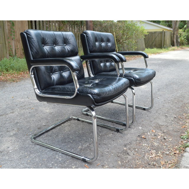 Mid-Century Leather & Chrome Club Chairs - a Pair - Image 3 of 7