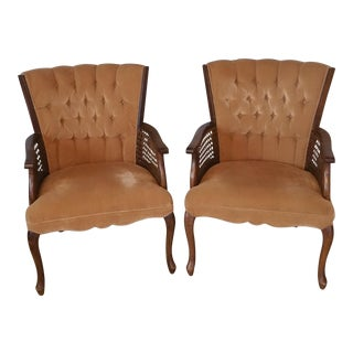 Vintage Rattan Tufted High Back Chairs - a Pair