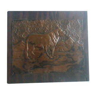 Vintage Handmade Mountain Dog Copper Panel