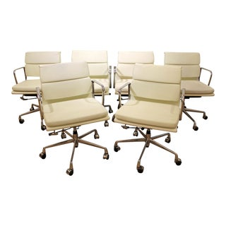 Mid-Century Eames Style Chrome Office/Conference Chairs - Set of 6