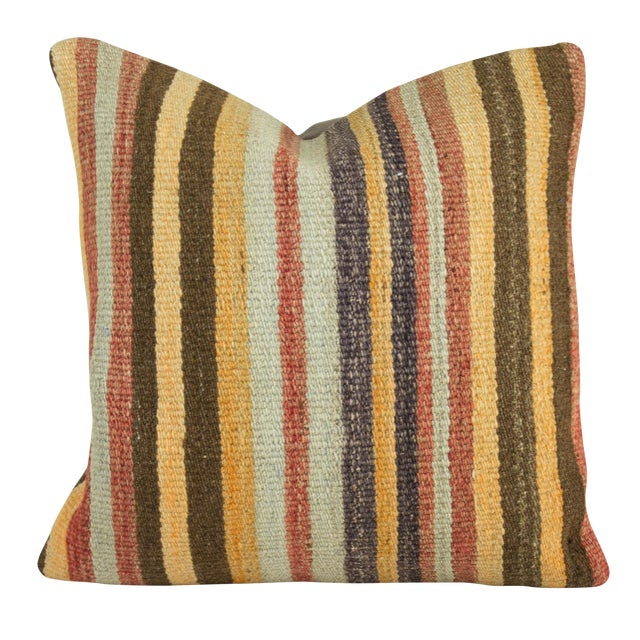 Striped Yellow Turkish Kilim Pillow - Image 1 of 3