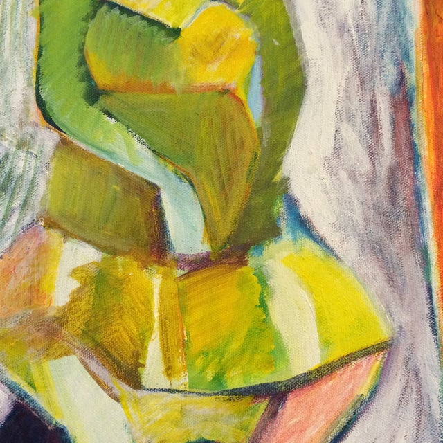 """1984 """"Girl in a Dress"""" Cubist Painting - Image 6 of 7"""