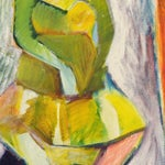 "Image of 1984 ""Girl in a Dress"" Cubist Painting"