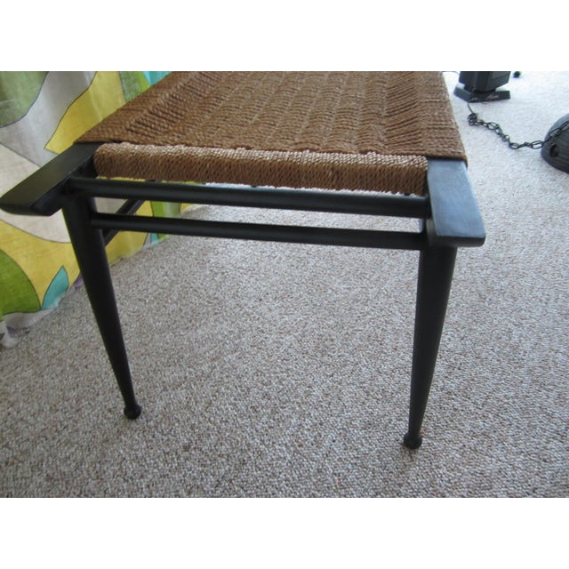 Vintage Mid-Century Modern Woven Rope Ebony Stained Wooden Bench - Image 6 of 7