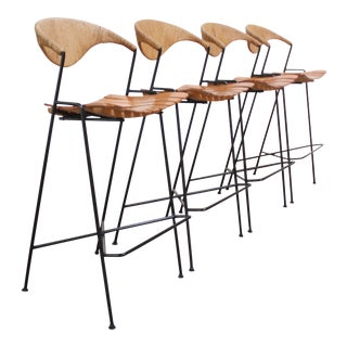 Set of Four Rush and Iron Stools by Arthur Umanoff for Raymor