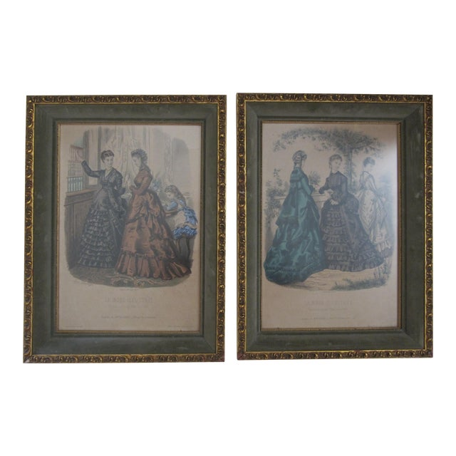 Antique French Fashion Prints - A Pair - Image 1 of 8