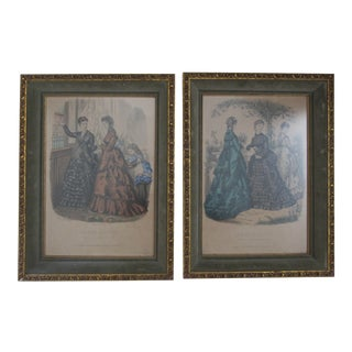 Antique French Fashion Prints - A Pair