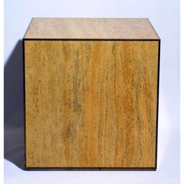 Travertine & Brass Cube Table - Image 2 of 4