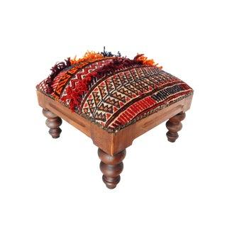 Vintage Afghan Tribal Rug Footstool