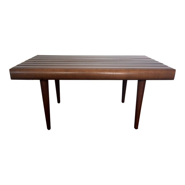 Mid-Century Modern Walnut Slat Bench - Image 1 of 7