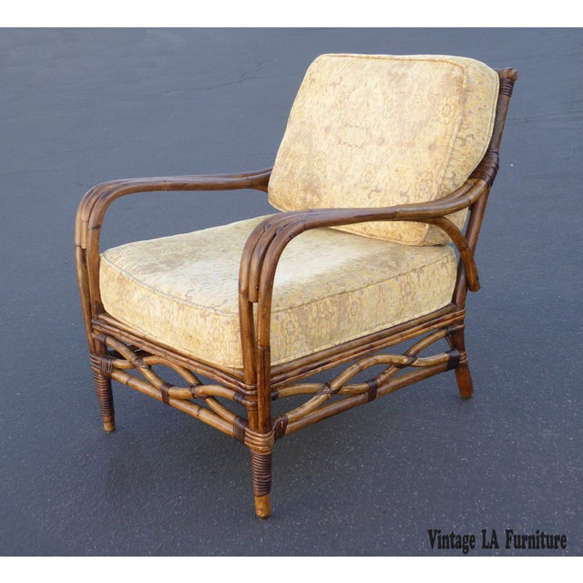 Vintage Rattan Accent Arm Chair - Image 3 of 11