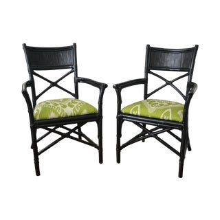 Black Rattan & Bamboo Ikat Fabric Chairs - A Pair