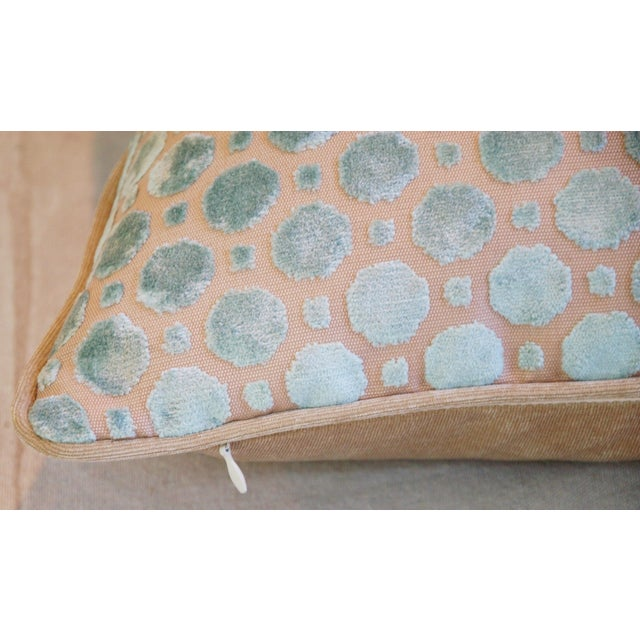 Aqua Blue Velvet Geometric Feather Down Pillow - Image 6 of 7