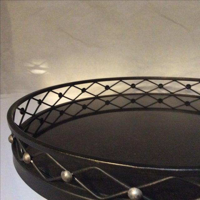 Black Metal Granite Top Side Table - Image 6 of 7