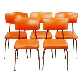 Mid-Century Modern Orange Dining Chairs - Set of 5
